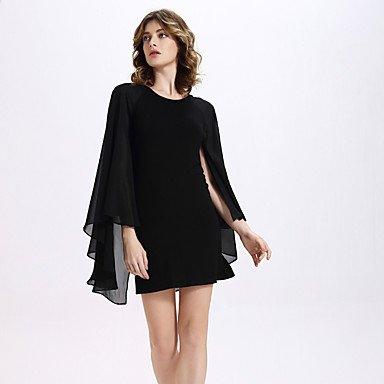PU&PU Robe Aux femmes Moulante Sexy / Bohème,Couleur Pleine Col Arrondi Mini Polyester , black , l