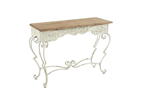 White Wrought Iron (Deco 79 60947 Metal Wood Console Table, 42