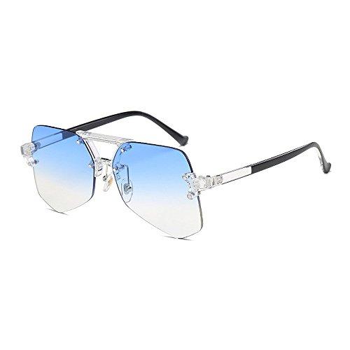 de de viaje Personalidad hombres Retro Gafas claro sin la de gafas para gran sol de Unisex para de tamaño gafas sol UV protección mujeres Irregular esquí transparente marco Azul de colorida de conducción wtUUp