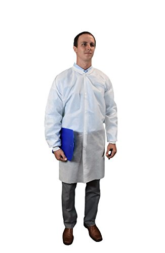 Keystone LC0-WK-SMS-SM-WHITE SMS Lab Coat, No Pocket, Knit Wrists, Snap Front, Single Collar, Small, White (Pack of 30)