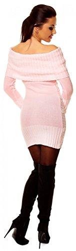 Rose Zeta pull maille manches Ville 913z en Poudre femme encolure Bardot Robe longues rqC7wEr