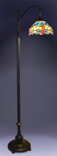 1908 Studios Dragonfly Tiffany Bridge Floor Lamp Bridge Bronze Floor Lamp