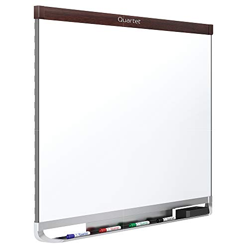 Quartet Magnetic Whiteboard, Porcelain, White Board, Dry Erase Board, 6' x 4', Mahogany Finish Frame, Prestige 2 Duramax (P557MP2) Dark Mahogany Finish Frame