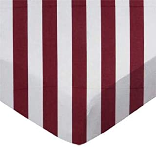 product image for SheetWorld 100% Cotton Percale Flat Crib Toddler Sheet 28 x 52, Burgundy Stripe, Made in USA