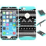 iPhone 6s Case, Wireless Fones TM Heavy Duty Hybrid Kickstand Cover Case Black and White Tribal Aztec C Snap On Over Baby Teal Skin for iPhone 6s