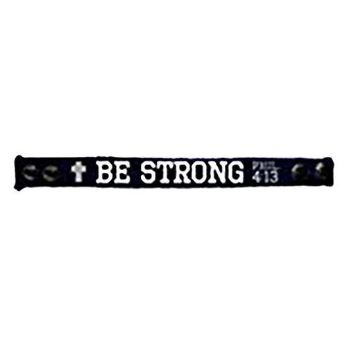 Kerusso Faith Gear Be Strong Philippians 4:13 Christian Cross Navy Blue Canvas Mens Bracelet