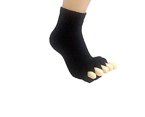 Kingwin Yoga dormir masaje calcetines cinco dedos del pie alineación calcetines (negro)
