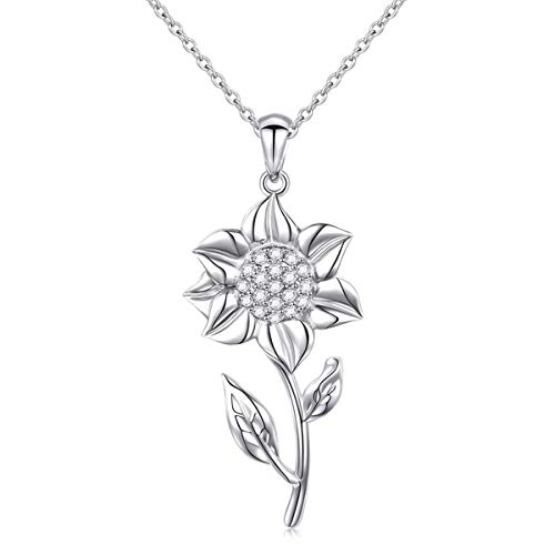 (S925 Sterling Silver White Sunflower with CZ Pendant Necklace for Women 18