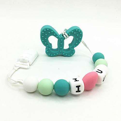 Silicone Butterfly Silicone Teething Pacifier Clip | Silicone Butterfly Clip-Teeth Necklaces | Baby Teething Pendants ()