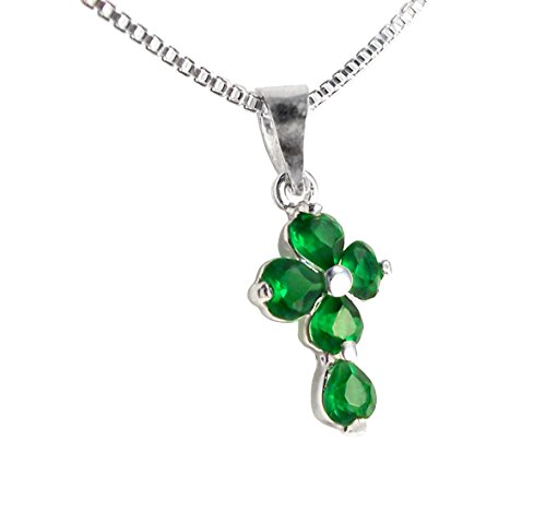 Birthstone May Emerald Green Crystal Hearts Sterling Cross Necklace, 18