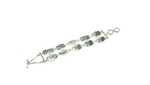 10 Commandments Religious Theme Silver-Tone Toggle Bracelet By Athena (Theme Toggle Bracelet)