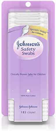 Johnson's Safety Ear Swabs for Babies and Children made with Non-Chlorine Bleached Cotton for a Gentle Clean, 185 ct (Pack of 2)
