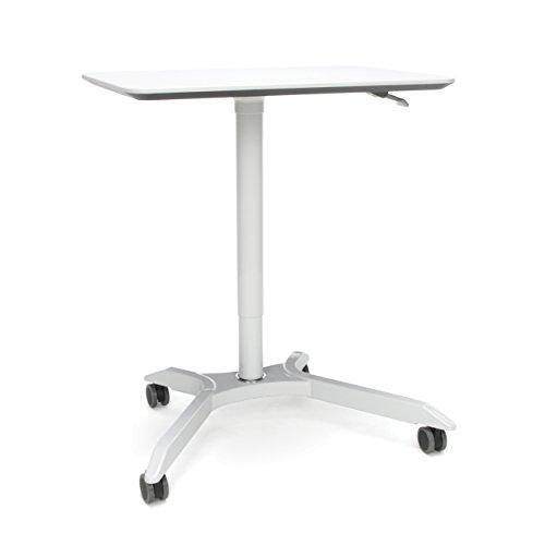 OFM Mesa Series Mobile Standing Desk - Height Adjustable Laptop Table, Workstation, White (66100-WHT)