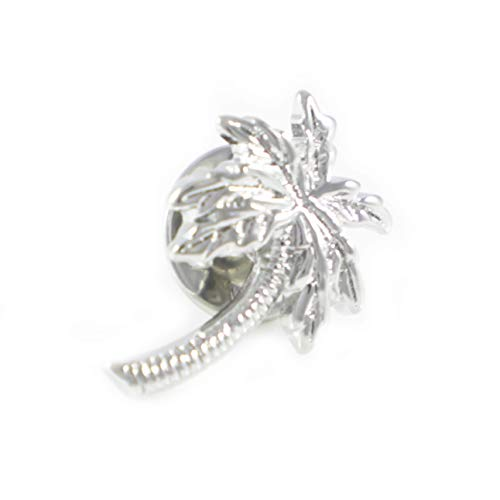 (MENDEPOT Silver Tone Palm Tree Lapel Pin Coconut Tree Suit Pin)