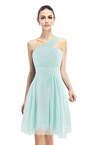 COCOMELODY Women's A Line Short One Shoulder Bridesmaid Dress Light Sky Blue 2