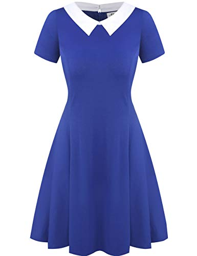 Aphratti Women's Short Sleeve Casual Peter Pan Collar Flare Dress Blue Medium