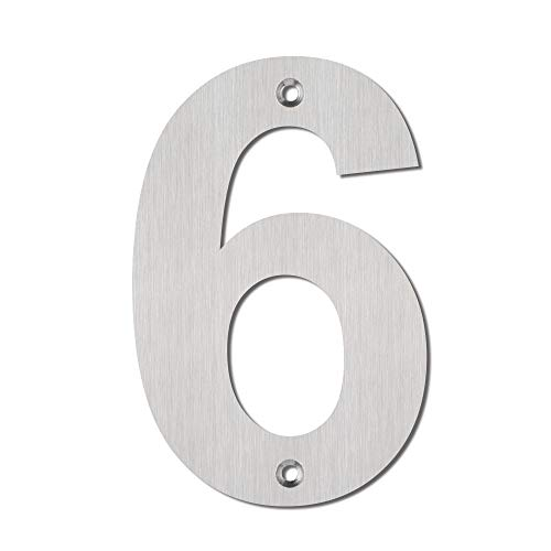 (Mellewell Modern House & Door Number Numerals 5 Inch Stainless Steel Brushed Nickel, Number 6 Six, HN05ABS-6)