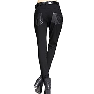 Minibee Women's Patchwork Leather Personalized Trousers Punk Style Black L: Clothing