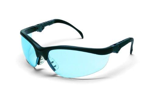 (MCR KD313 Crews Klondike Plus Safety Glasses Ratchet Black Frame Light Blue Lens, 1 Pair)
