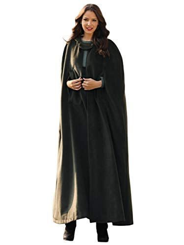 Syktkmx Womens Hooded Long Trench Coat Cosplay Robe Cloak Costume Cape Outwear (Small, Army Green)]()