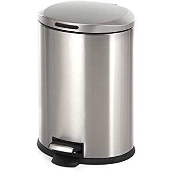 Home Zone Stainless Steel Kitchen Trash Can with Oval Design and Step Pedal | 12 Liter / 3 Gallon Storage with Removable Plastic Trash Bin Liner, Silver
