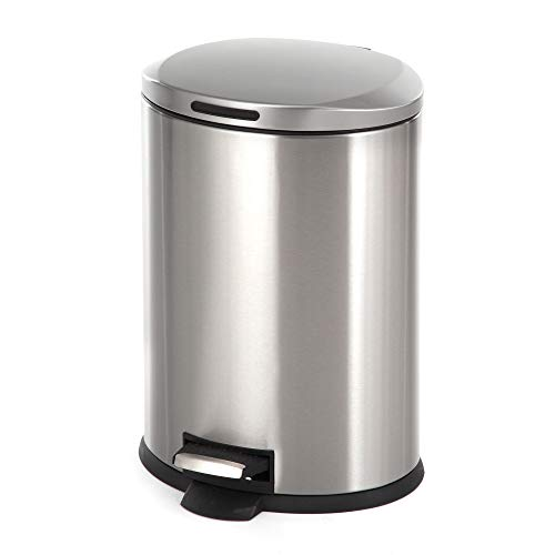 Four Gallon Plastic Step - Home Zone Stainless Steel Kitchen Trash Can with Oval Design and Step Pedal | 12 Liter / 3 Gallon Storage with Removable Plastic Trash Bin and Rubber Liner, Silver