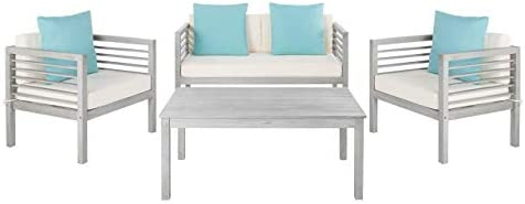 Safavieh PAT7033B Collection Alda Wash, White and Light Blue 4 Pc Accent Pillows Outdoor Set, Grey Beige