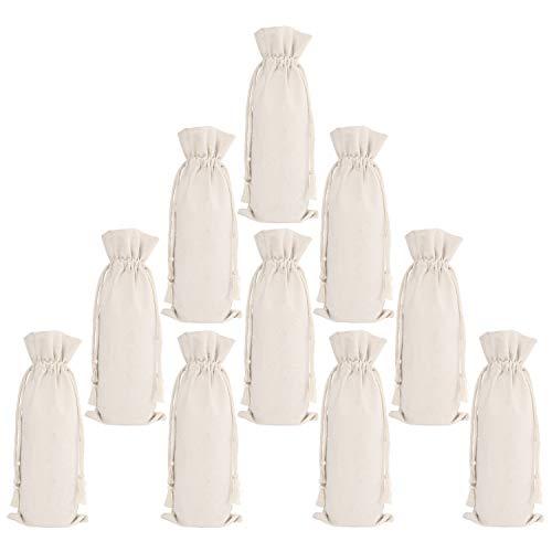 - ElegantPark 10 Packs Canvas Wine Bags Bulk Wine Bottle Bags With Drawstring Reusable Wine Gift Bag Party Wedding Gifts