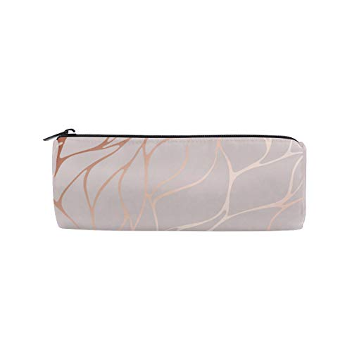 Pencil Case Rose Gold Marble Student Stationery Pouch Office Storage Organizer Pen Cosmetic Bag