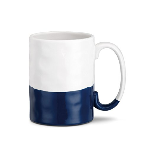 (Always Together Blue and White Stripe 16 Ounce Glossy Stoneware Mug With Handle)