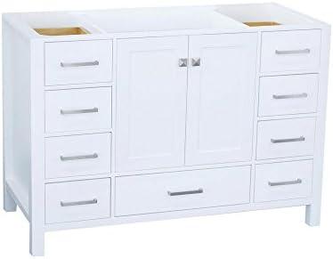"ARIEL 48"" inch White Bathroom Vanity Base Cabinet"