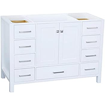 "ARIEL 48"" inch White Bathroom Vanity Base Cabinet with ..."