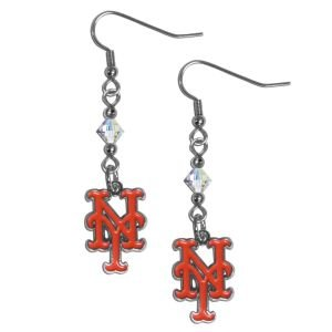 MLB New York Mets Crystal Dangle Earrings