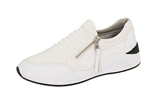 D640SC01585 Donna D OMAIA Sneakers In Scarpe Pelle Geox Bianco C1000 w15t8F