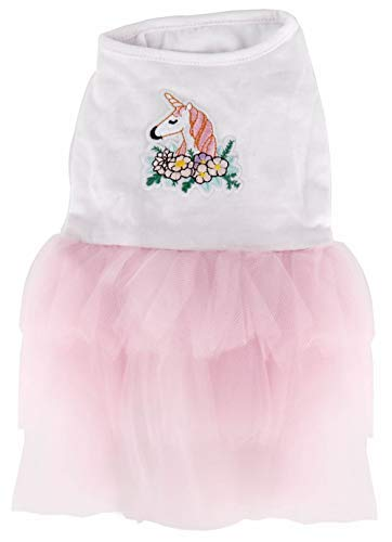 Lanyarco Unicorn Floral Cat Dress Tutu Pet Clothes