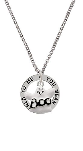 Silvertone BOO Ghost - You Mean The World To Me Affirmation Ring -