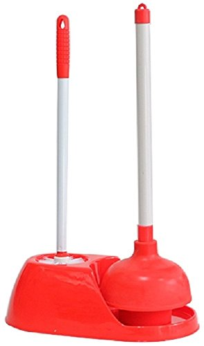 Toilet Brush Plunger Set Bathroom Accessories Storage Holder Caddy | Best Bowl Cleaner Unclog Clogged Bowl Rapidly | Industrial Heavy Duty Universal Combo Plastic Stand | Rubber Made Powerful (Red Plunger)