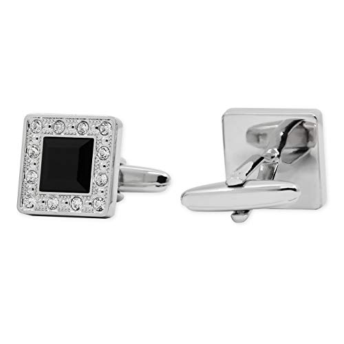 APEX Silver Crystal Embroider Black Square Cufflinks with Gift Box