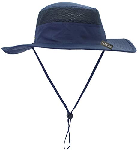 Camo Coll Outdoor Sun Cap Camouflage Bucket Mesh Boonie Hat (Navy Blue, One -