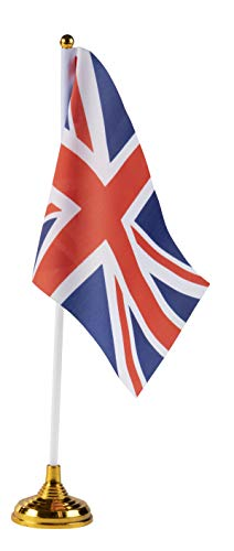 Juvale Union Jack Desk Flags - 24-Piece United Kingdom Desktop Flags with Stick and Gold Stand, UK Flag Table Decoration, 8.5 x 5.5 Inches -