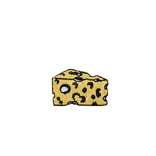 (Cheese Wedge - Small - Yellow - Swiss Cheese - Iron on Applique/Embroidered Patch)
