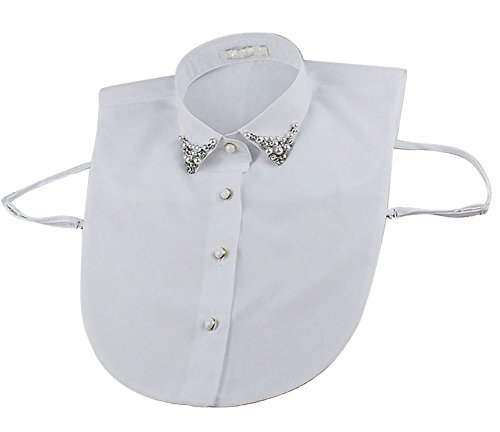 Womens Prestige Cotton Jacket (Vivian Half Shirt Blouse Detachable Fake Collar with Pearl and Rhinestone (White))