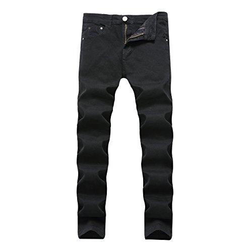 Leward Men's Skinny Slim Fit Stretch Straight Leg Fashion Jeans Pants (34, Black) (Fashion Fit Slim Jeans)