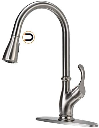 APPASO Kitchen Faucet with Pull Down Magnetic Docking Sprayer – Single Handle One Hole High Arc Pull Out Kitchen Sink Faucets with Deck Plate, Stainless Steel Brushed Nickel, APS220BN US Review