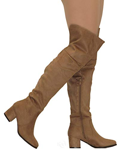 167473350a3 MVE Shoes Women s Over The Knee Stretch Boot - Trendy Low Block Heel Shoe -  Sexy Over The Knee Pullon Boot - Comfortable Easy Heel Boot