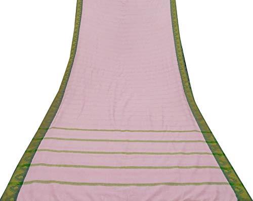 Vintage Indian Pink Saree Cotton Silk Handloom Craft Fabric Used Sari 5 Yard