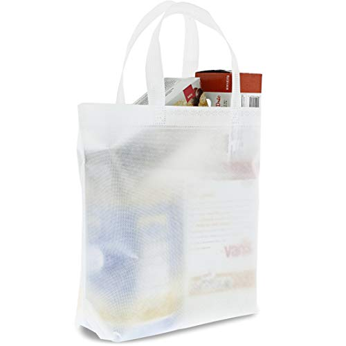 (Juvale White Tote Bags - 20-Pack Non-Woven Wholesale Tote Bags, Promotional Tote for Conventions, Gift Totes, Party Favor Goodie Bags, 14.8 x 12.5 Inches)