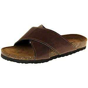 Dunlop Mens Faux Leather Strappy Casual Slip On Lightweight Summer Sandals