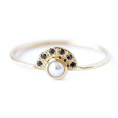 Amazon.com: Pearl Engagement Ring With Black Diamonds