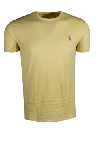 Polo Ralph Lauren Mens Cotton Crewneck Tee (Yellow, Small) (Polo Ralph Lauren Cotton Crewneck)